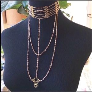 Free People Golden Lotus Chain Choker Necklace